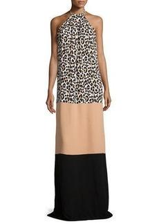 Michael Kors Leopard-Print Halter Colorblock Maxi