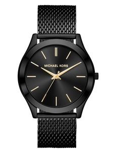 Michael Kors Slim Runway IP Stainless Steel Bracelet Analog Watch