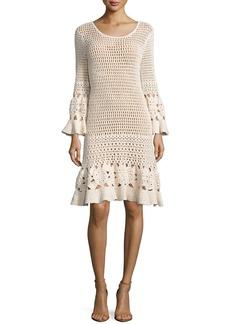 Michael Kors Long-Sleeve Crochet Dress