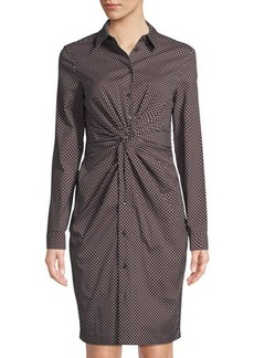 Michael Kors Collection Long-Sleeve Diamond-Print Shirtdress w/ Twisted Front
