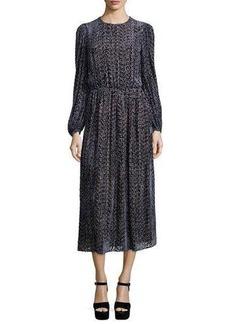 Michael Kors Long-Sleeve Drop-Waist Devore Dress