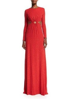 Michael Kors Long-Sleeve Embellished Gown W/Cutouts