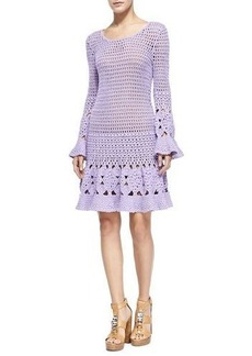 Michael Kors Long-Sleeve Floral Hand-Crocheted Dress