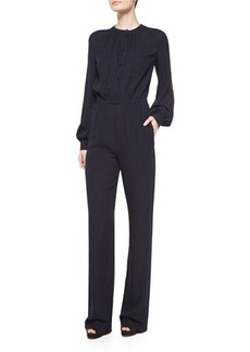 Michael Kors Long-Sleeve Pleated-Front Jumpsuit