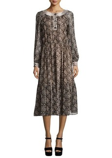 Michael Kors Long-Sleeve Python-Print Peasant Dress