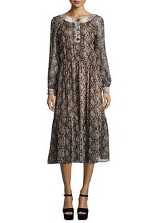 Michael Kors Long-Sleeve Python-Print Peasant Dress