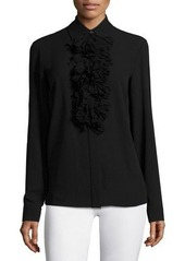 Michael Kors Long-Sleeve Ruffle-Front Blouse
