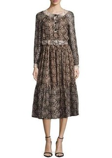Michael Kors Long-Sleeve Snake-Print Peasant Dress