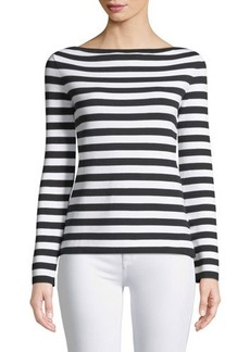 Michael Kors Collection Long-Sleeve Striped Ribbed-Knit Tee