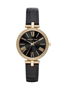 Michael Kors Maci Three-Hand Black Leather Strap Watch