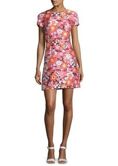 Michael Kors Medium Spring Floral Jacquard Short-Sleeve Dress