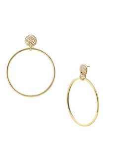 Michael Kors Mercer Link 14K Goldplated & Crystal Oversized Hoop Earrings