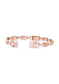 Michael Kors Mercer Sterling Silver & Rose Quartz Cuff Bracelet