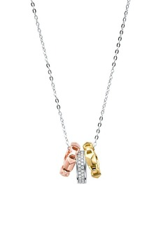 Michael Kors Mercer Sterling Silver and Tri-Tone Ring Necklace