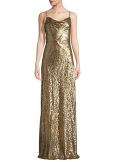 Michael Kors Collection Metallic Cowl-Neck Gown