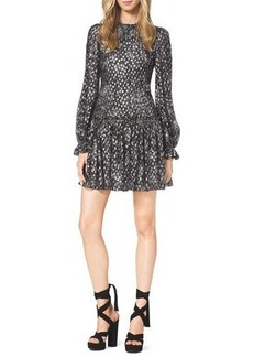 Michael Kors Metallic Floral-Print Chiffon Dress