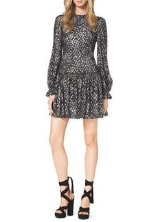 Michael Kors Metallic Floral-Print Chiffon Dress