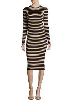 Michael Kors Collection Metallic-Stripe Long-Sleeve Midi Dress
