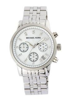 MICHAEL Michael Kors Mid-Size Silver Color Stainless Steel Ritz Chronograph Glitz Watch