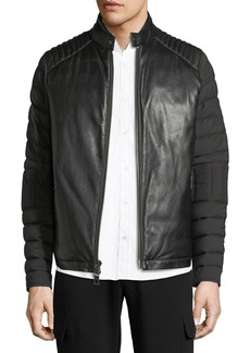 Michael Kors Napa Leather & Nylon Biker Jacket