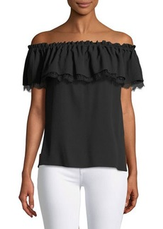 Michael Kors Collection Off-The-Shoulder Short-Sleeve Silk Blouse