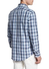 Michael Kors Ombre Plaid Long-Sleeve Sport Shirt
