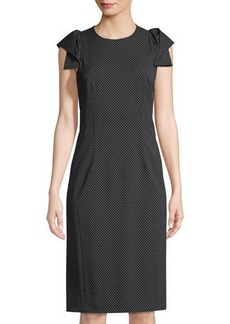 Michael Kors Collection Origami-Sleeve Pin-Dot Dress