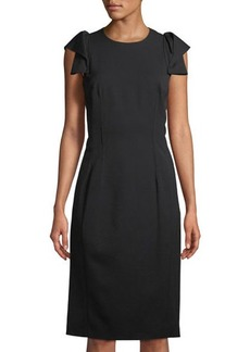 Michael Kors Collection Origami-Sleeve Wool Midi-Dress