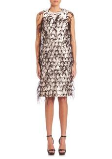 Michael Kors Ostrich Feather Embroidered Silk Shift Dress