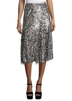 Michael Kors Paillette-Fringe A-Line Skirt
