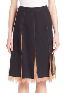 Michael Kors Paneled Lace-Inset Skirt