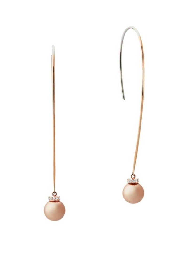 Michael Kors Pink Pearl And Stainless Steel Drop Earrings