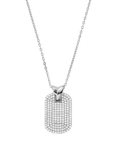Michael Kors Plaque Sterling Silver & Crystal Dog Tag Necklace