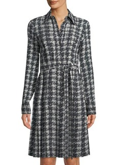 Michael Kors Collection Pleated Houndstooth Georgette Shirtdress