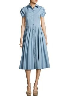 Michael Kors Pleated Short-Sleeve A-Line Shirtdress