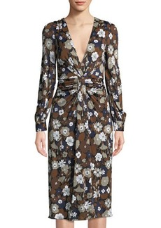 Michael Kors Collection Plunging Floral-Print Satin Jersey Dress