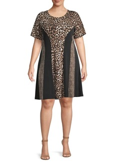 Michael Kors Plus Cheetah A-Line Dress