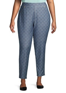 Michael Kors Plus Printed Cotton-Blend Pants