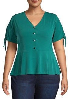 MICHAEL Michael Kors Plus Short-Sleeve Peplum Top