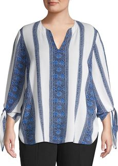 Michael Kors Plus Tied Monaco Tile Engineered Border Print Top