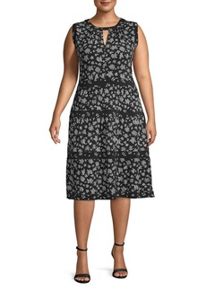 Michael Kors Plus Wildflower Fit-&-Flare Dress