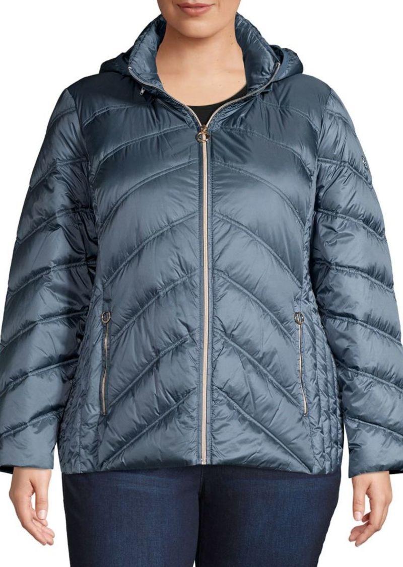 Michael Kors Plus Zip-Front Puffer Coat