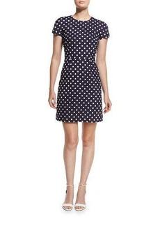 Michael Kors Polka-Dot Cap-Sleeve Mini Dress
