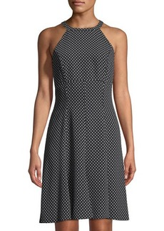 Michael Kors Collection Polka-Dot Halter-Neck Cady Dress
