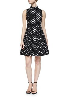 Michael Kors Polka-Dot Pleated Shirtdress