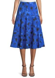 Michael Kors Collection Poppy-Print A-Line Midi Dance Skirt