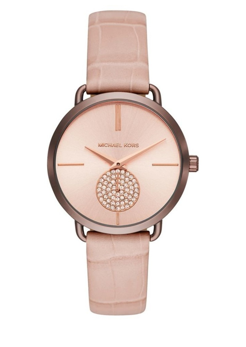 467bee4b0c0e Michael Kors Michael Kors Portia Sable IP and Leather-Strap Watch ...