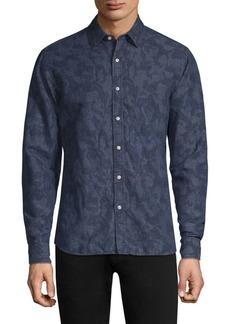 Michael Kors Printed Linen Button-Down Shirt