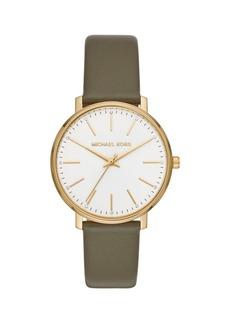 Michael Kors Pyper Three-Hand Leather Strap Watch
