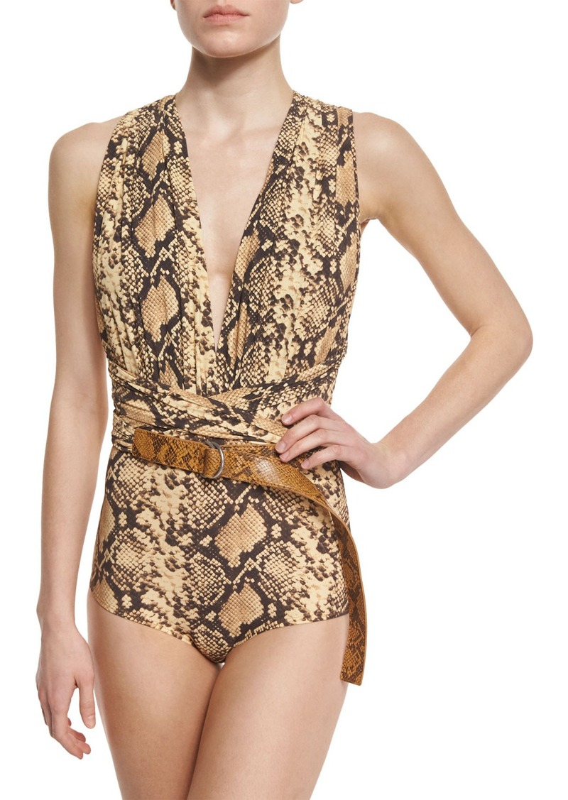 Michael Kors Collection Python-Print Belted One-Piece Swimsuit